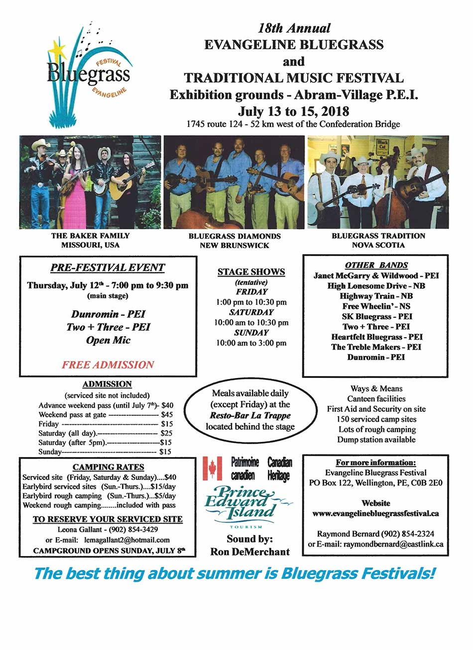 Evangeline Bluegrass and Traditional Music Festival Flyer