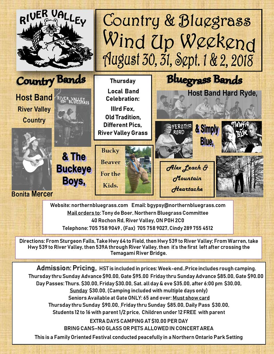 2018 River Valley Country & Bluegrass Windup Weekend
