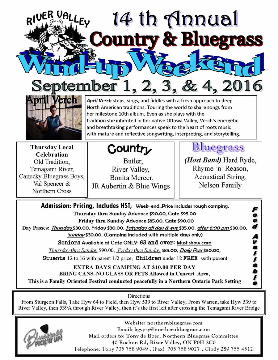 2017 River Valley Country & Bluegrass Windup Weekend