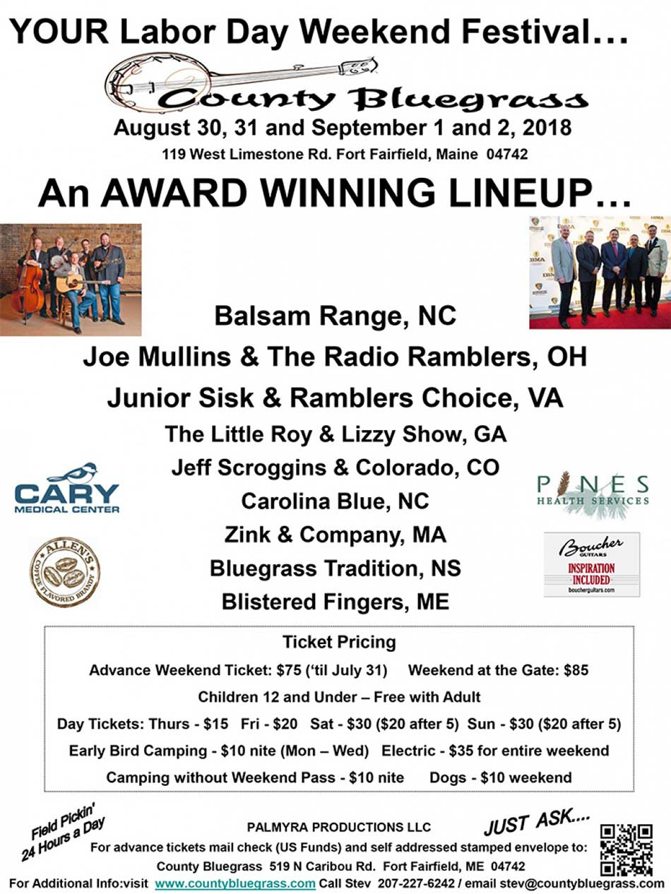 County Bluegrass LaborDay Festival Flyer
